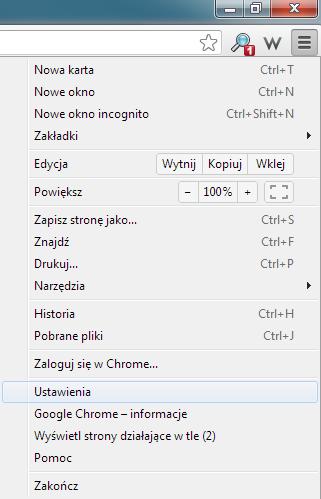 Manu narzędzia w przeglądarce Google Chrome