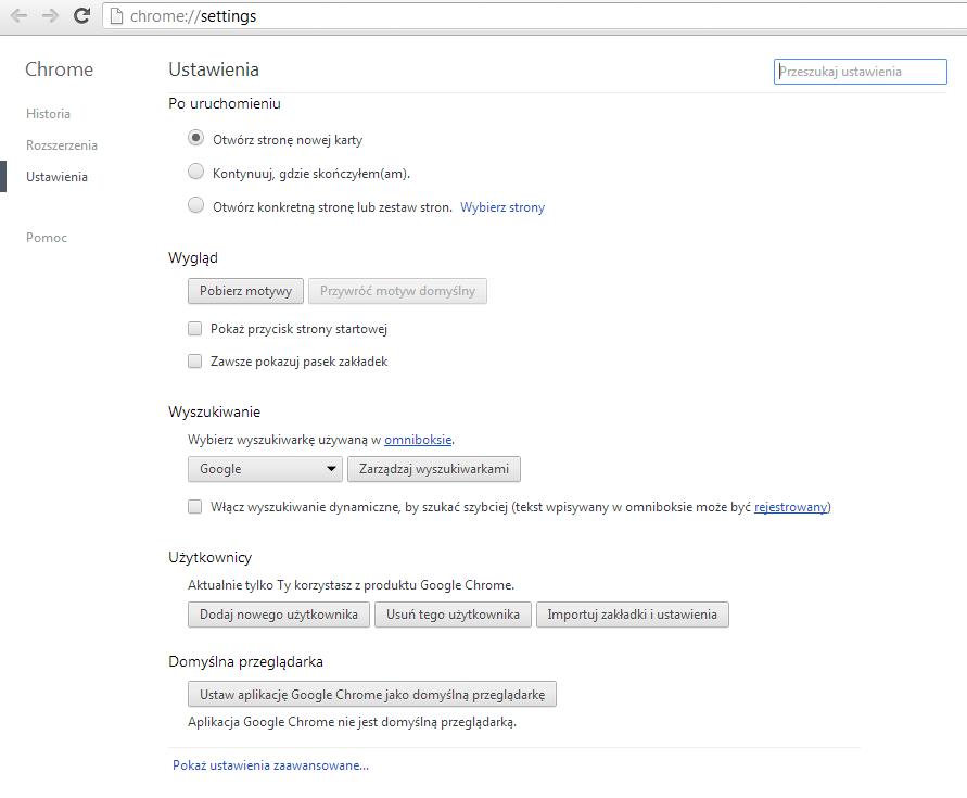 Menu zaawansowanych urządzeń w przeglądarce Google Chrome