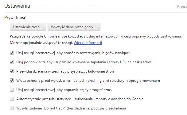 Ustawienia prywatności w przeglądarce Google Chrome