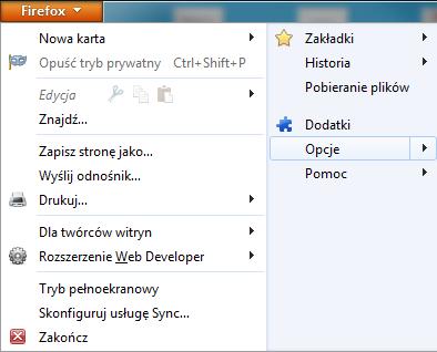 Menu narzędzia - ustawienia przeglądarki Firefox