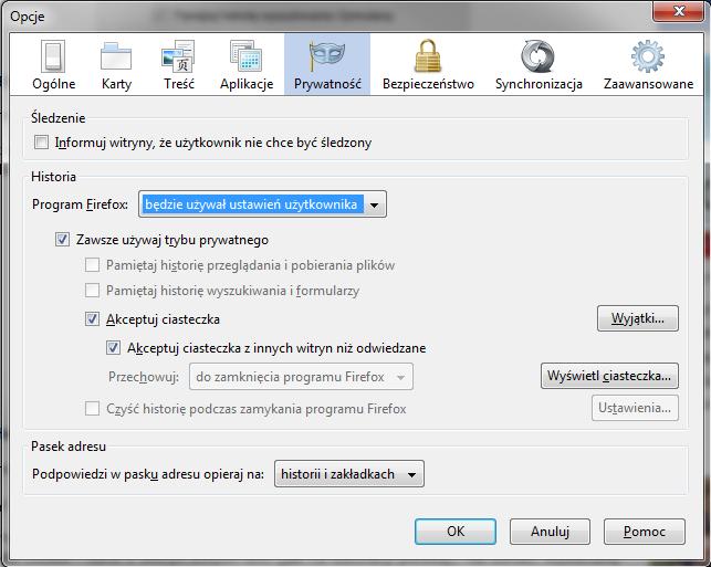 Ustawienia prywatności w programie Mozilla Firefox
