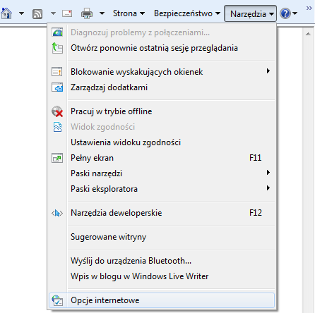 Menu narzędzia w przeglądarce Internet Explorer